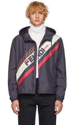 Fendi - Navy 'Fendi Mania' Jacket