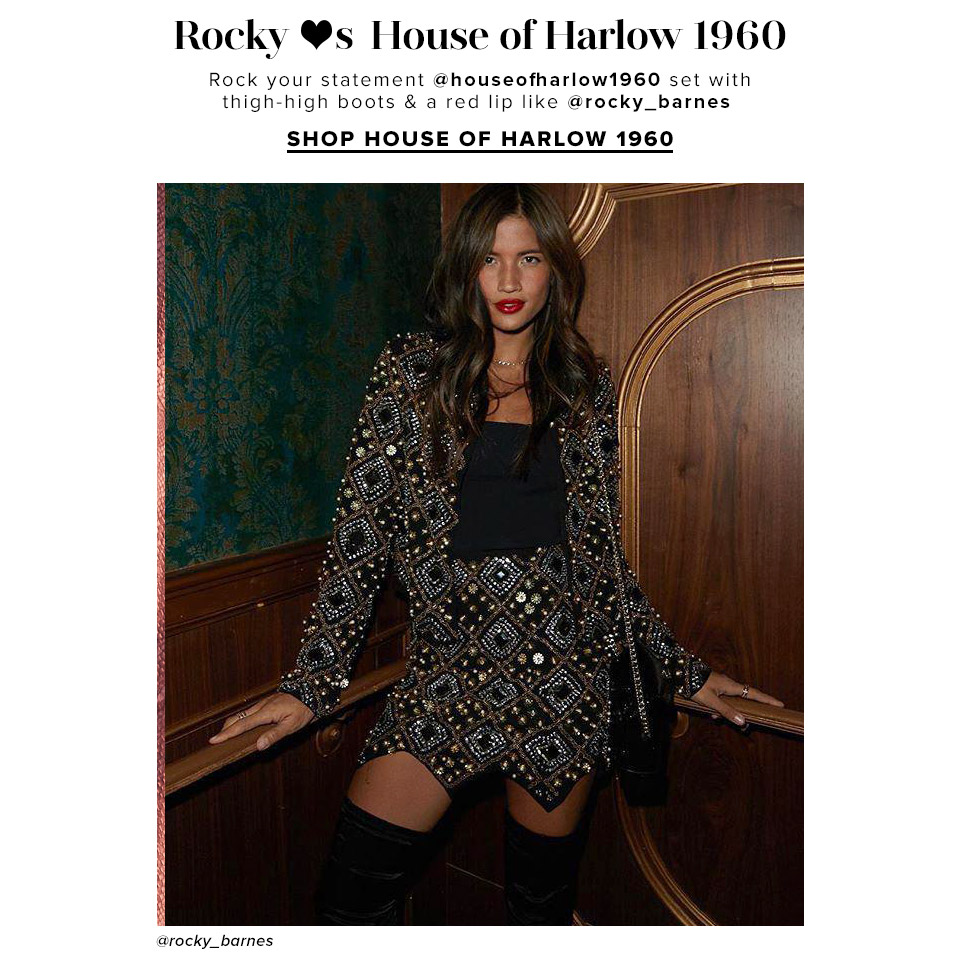Rocky <3s House of Harlow 1960. Rock your statement @houseofharlow1960 set with thigh-high boots & a red lip like @rocky_barnes. Shop House of Harlow 1960.
