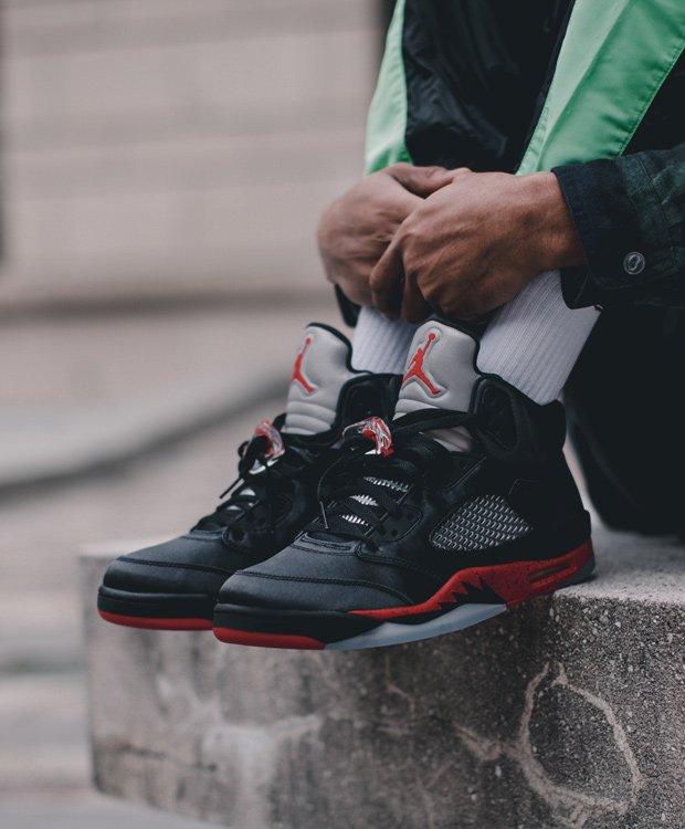 new styles 66f50 a08f5 DTLR (Down Town Locker Room): SATIN 🔴⚫️ Air Jordan 5 Now ...