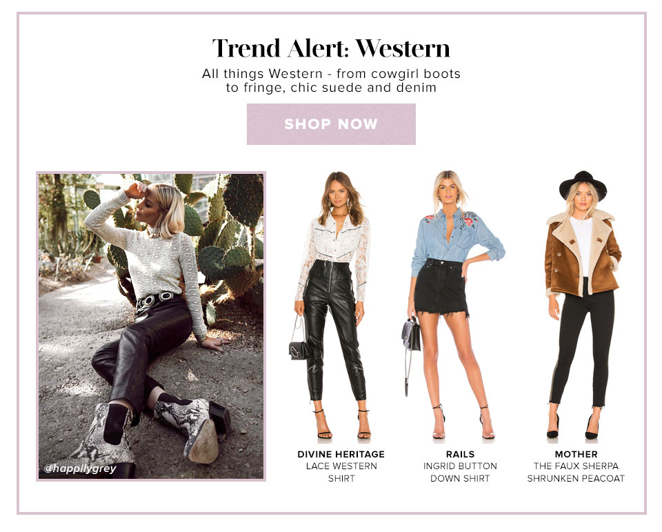Trend Alert: Western. All things Western - from cowgirl boots to fringe, chic suede and denim. SHop now.