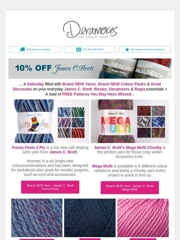 Deramores: FREE Patterns You May Have Missed | 10% OFF Rowan