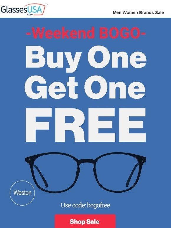 e4e602942f8 GlassesUSA.com  Weekend BOGO FREE! Your promo code is waiting ...