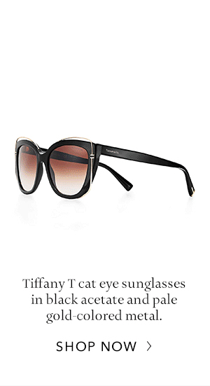 7e04a928a9dfe ... Shop Now  Black Acetate and Pale Gold Colored Tiffany T Cat Eye  Sunglasses