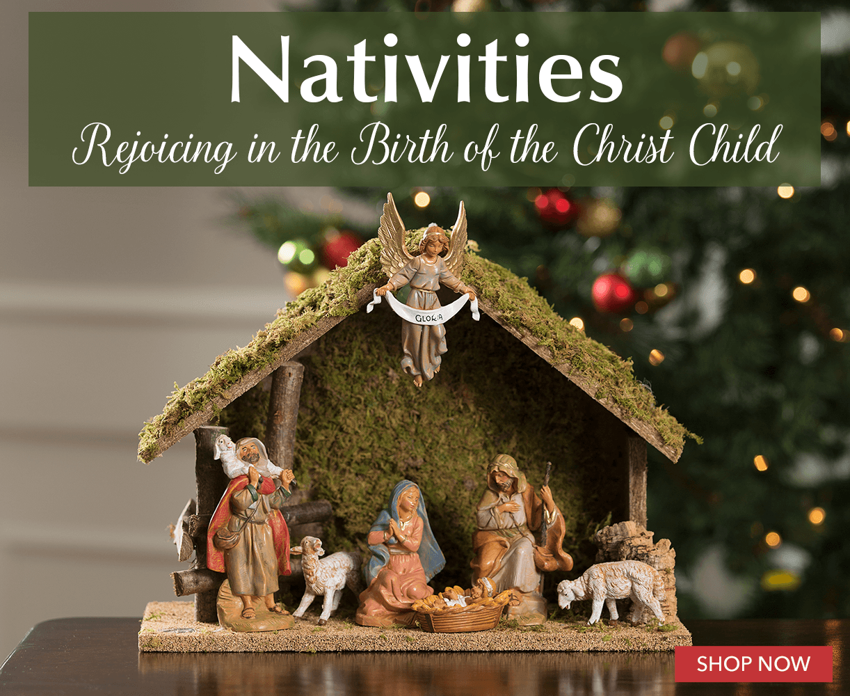 4 Part Resin Tabletop Stable Scene Baby Jesus Mary Quality Christmas Nativity Set Joseph Sheep and Donkey
