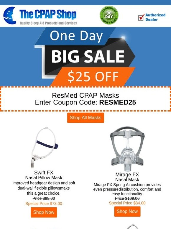 the cpap shop: Flash Sale: $25 Off ResMed CPAP Masks | Milled