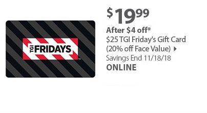 $25 TGI Friday Gift Cards