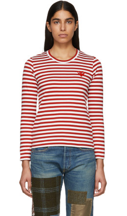 Comme des Garons Play - Red & White Striped Heart Patch T-Shirt
