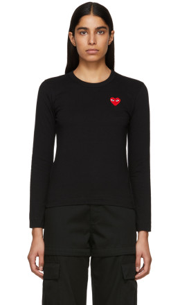 Comme des Garçons Play - Black & Red Heart Patch Long Sleeve T-Shirt