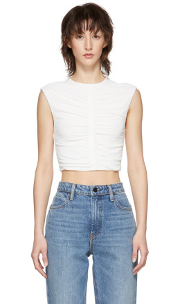 T by Alexander Wang - Off-White Cropped Ruched Tank Top