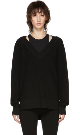 T by Alexander Wang - Black Inner Tank Raglan Sweater