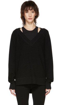 T by Alexander Wang - Black Inner Tank Raglan Sweater
