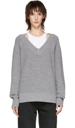 T by Alexander Wang - Grey Inner Tank Raglan Sweater