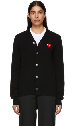 Comme des Garçons Play - Black Men's Fit Heart Patch V-Neck Cardigan