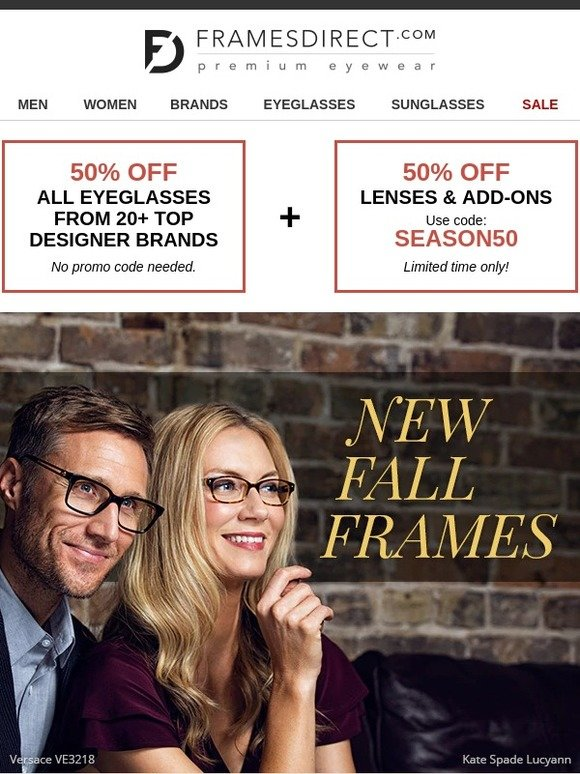 b114d7e3bb Frames Direct  The Latest Fall Frames • 50% Off Frames and Lenses ...