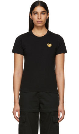 Comme des Garons Play - Black & Gold Heart Patch T-Shirt
