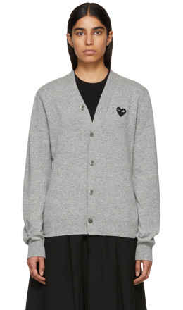Comme des Garons Play - Grey Men's Fit Heart Patch V-Neck Cardigan