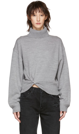 T by Alexander Wang - Grey Double Layered Twist Turtleneck