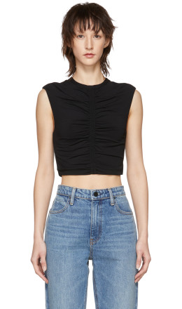 T by Alexander Wang - Black Cropped Ruched Tank Top