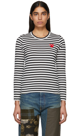 Comme des Garons Play - Black & White Striped Heart Patch T-Shirt