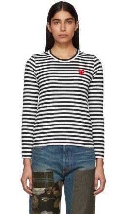 Comme des Garons Play - Black & White Striped Heart Patch T-Shirt