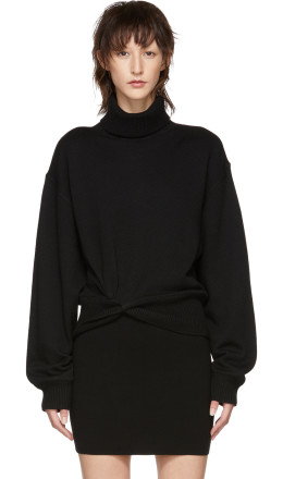 T by Alexander Wang - Black Double Layered Twist Turtleneck