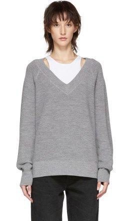 T by Alexander Wang - Grey Inner Tank Raglan Sweater