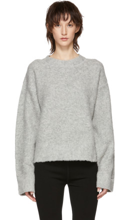T by Alexander Wang - Grey Exaggerated Pilling Pullover Sweater