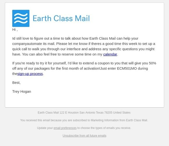 Earth Class Mail Online Postal Mail: (Re:)   Milled