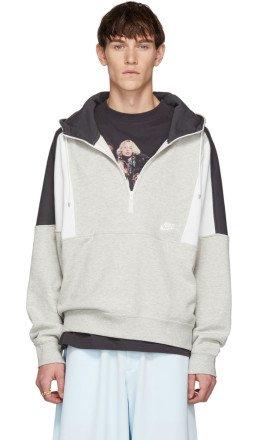 Nike - Grey & White Half-Zip Hoodie