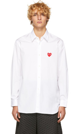 Comme des Garons Play - White Heart Patch Shirt