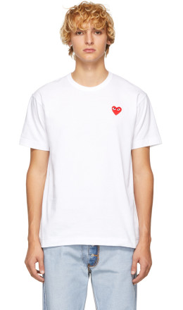 Comme des Garons Play - White & Red Heart Patch T-Shirt