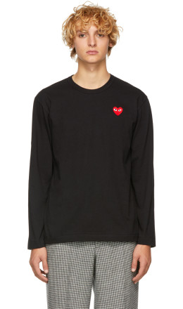Comme des Garons Play - Black & Red Heart Patch Long Sleeve T-Shirt