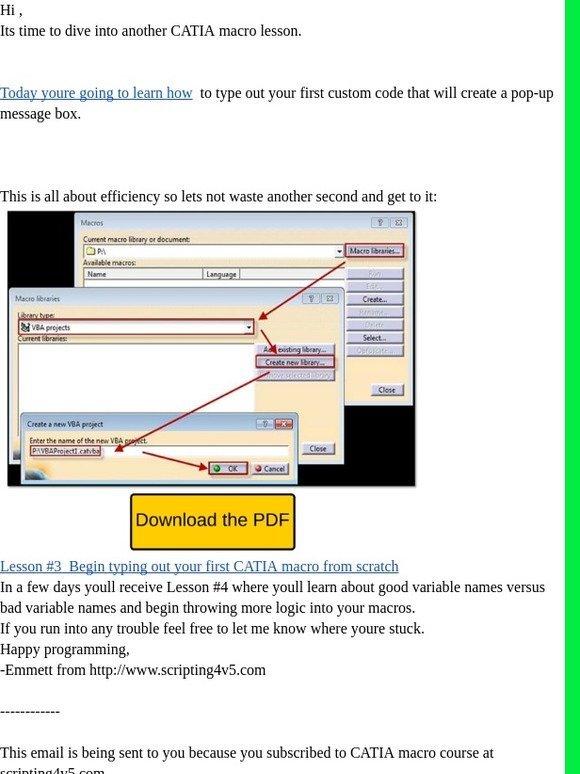 Vb Scripting For Catia V5: CATIA Macro Lesson #3 | Milled