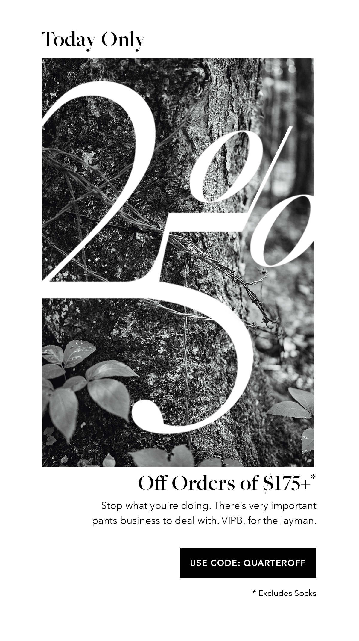 Today Only: 25% Off Orders of $175+ // Stop what youre doing. Theres very important pants business to deal with. VIPB, for the layman. // USE CODE QUARTEROFF