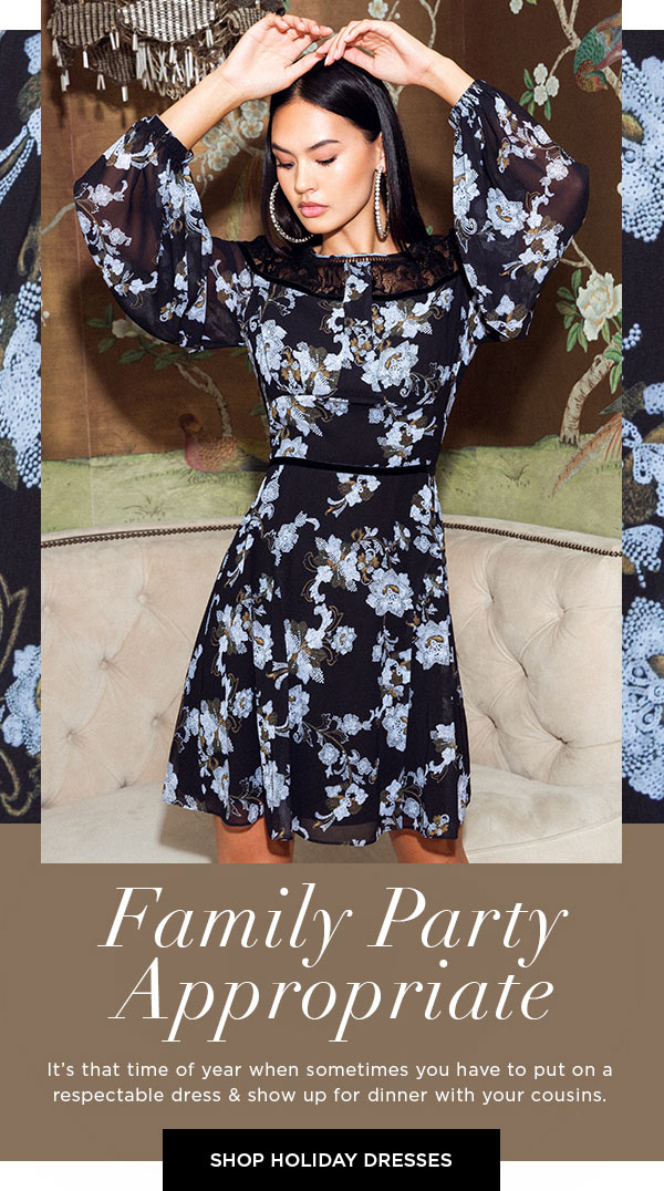 Family Party Appropriate   It's that time of year when sometimes you have to put on a respectable dress & show up for dinner with your cousins.   SHOP HOLIDAY DRESSES >