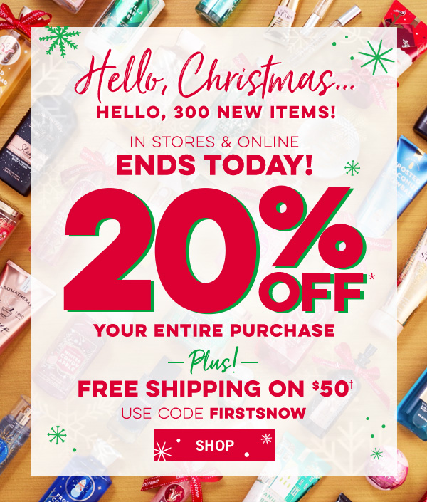 bath and body 20 off plus free shipping