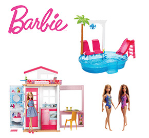Barbie House Pool and 3 Dolls