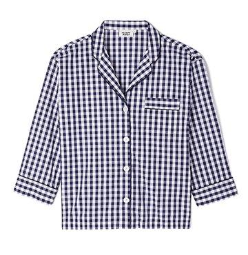 Sleepy Jones Marina Gingham Cotton Pajama Shirt $148