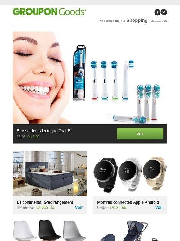 Groupon BE  Brosse à dents électrique Oral-B, Lit continental avec  rangement, Montres connectées Apple Android, Chaises salle à manger Lucia    plus   Milled fa71438728f5