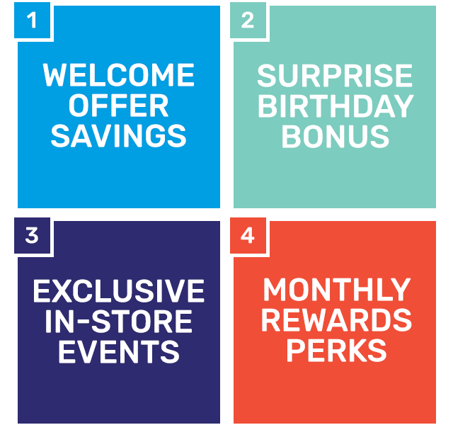 Welcome offer savings, surprise birthday bonus, exclusive in-store events, monthly reward perks.