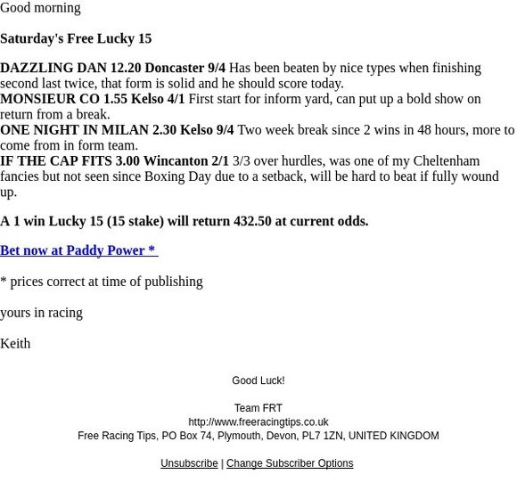 Free Racing Tips: Saturday's Free Lucky 15 | Milled