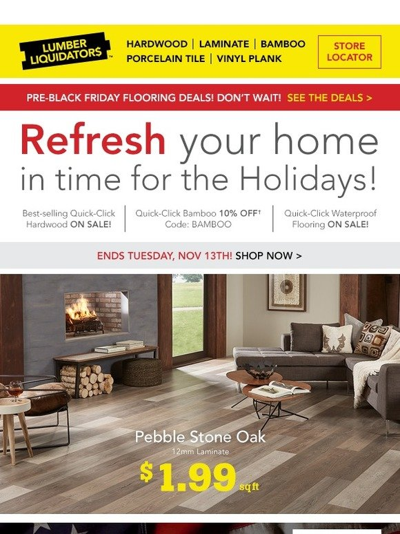 Lumber Liquidators: Refresh your home with laminate! Up to