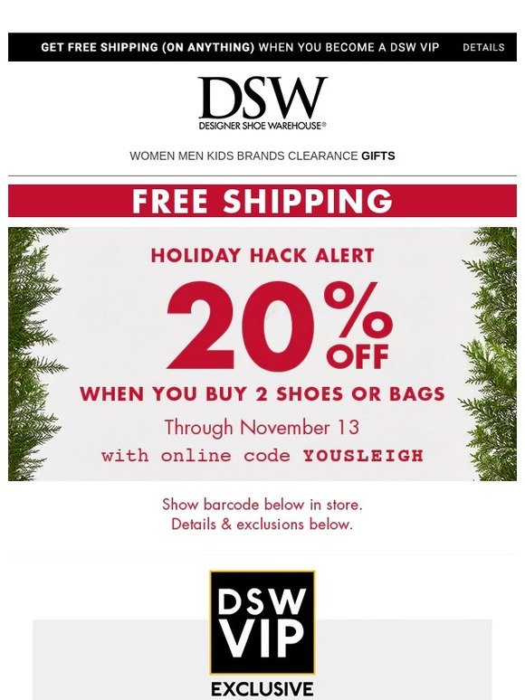 1287aa73a76 DSW  Re  That 20% off.