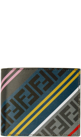 Fendi - Grey & Multicolor 'Forever Fendi' Bifold Wallet
