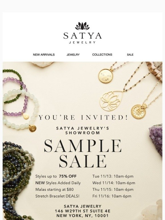 Satya Jewelry: You're Invited! Showroom Sample Sale up to 75