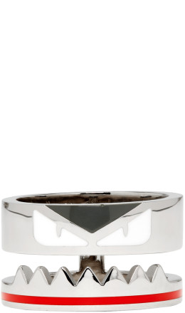 Fendi - Silver 'Bag Bugs' Band Ring