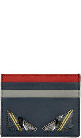 Fendi - Navy & Red 'Bag Bugs' Card Holder