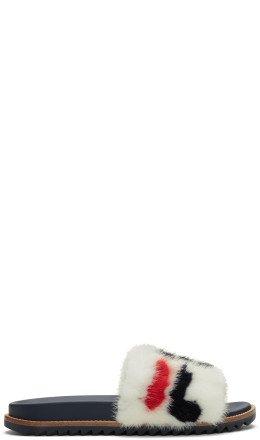 Fendi - White 'Fendi Mania' Fur Slides