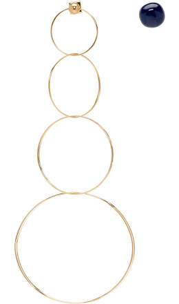 Jacquemus - Gold & Navy 'Les boucles Soraya' Earrings