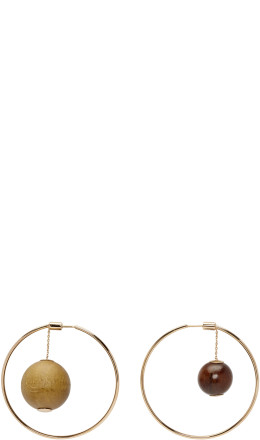 Jacquemus - Gold & Brown 'Les creoles Nour' Earrings